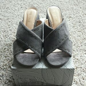 NWT grey faux suede studded mule sandals